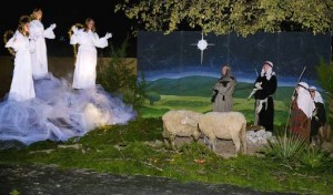 Angels appearing before the shepherds in Bethany Lutheran Church's Christmas Journey